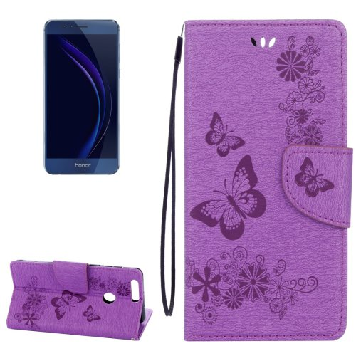 For Honor 8 Purple Butterflies Leather Case with Holder, Card Slots & Wallet