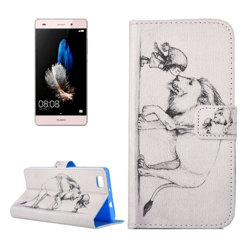 For Huawei P8 Lite Lion Pattern Leather Case with Holder, Card Slots & Wallet