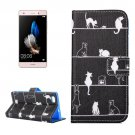 For Huawei P8 Lite Cats Pattern Leather Case with Holder, Card Slots & Wallet