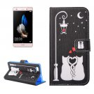 For Huawei P8 Lite lovers Pattern Leather Case with Holder, Card Slots & Wallet