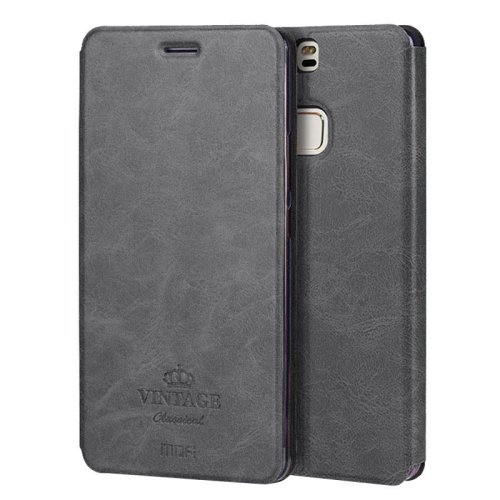 For Huawei P9 Plus MOFI VINTAGE Black Leather Case with Holder & Card Slots