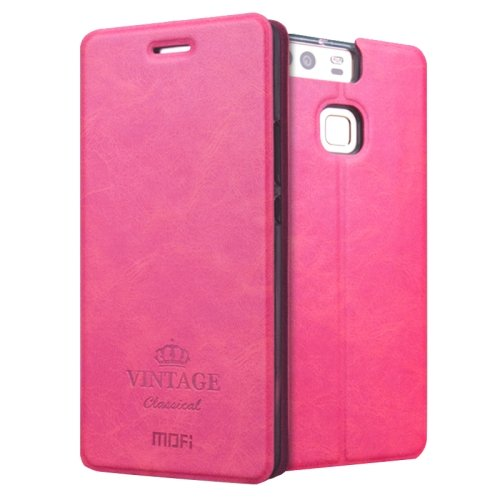 For Huawei P9 MOFI VINTAGE Magenta Smart Leather Case with Holder & Card Slots