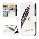 For Huawei P8 Lite Feather Pattern Leather Case with 9 Card Slots, Wallet & Holder
