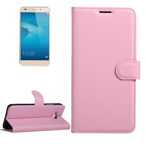 For Huawei Honor 5c Pink Litchi Leather Case with Card Slots, Wallet & Holder