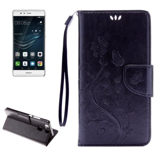 For Huawei P9 Butterflies Black Leather Case with Holder, Card Slots & Wallet