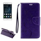 For Huawei P9 Butterflies Purple Leather Case with Holder, Card Slots & Wallet