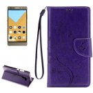For Honor 7 Butterflies Purple Leather Case with Holder, Card Slots & Wallet