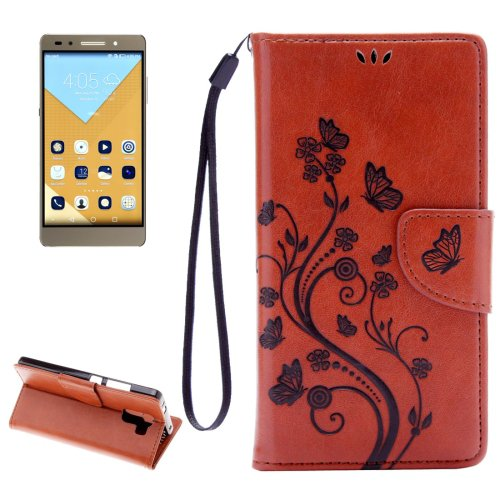 For Honor 7 Butterflies Brown Leather Case with Holder, Card Slots & Wallet