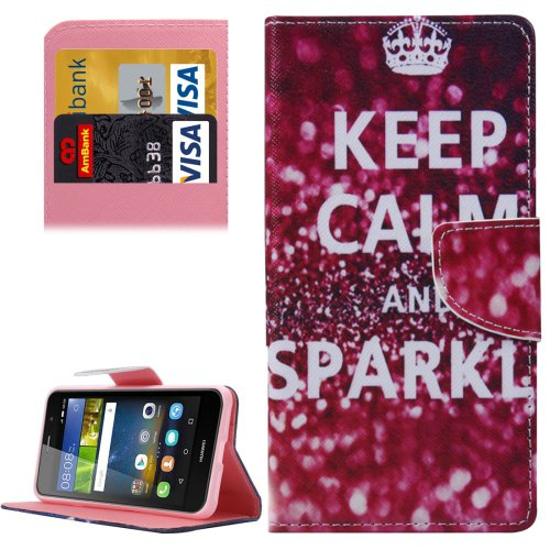 For Y6 Pro Sparkle Pattern Leather Case with Holder, Card Slots & Wallet