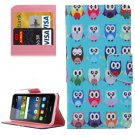 For Y6 Pro Owls Pattern Leather Case with Holder, Card Slots & Wallet