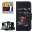 For Y6 Pro Bear Pattern Leather Case with Holder, Card Slots & Wallet