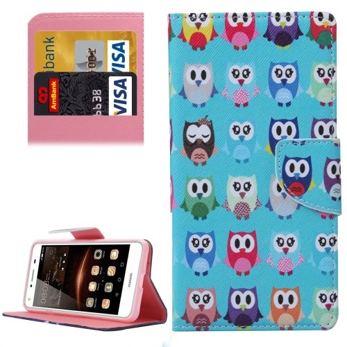 For Huawei Y5 II Owls Pattern Leather Case with Holder, Card Slots & Wallet