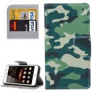 For Huawei Y5 II Camouflage Pattern Leather Case with Holder, Card Slots & Wallet