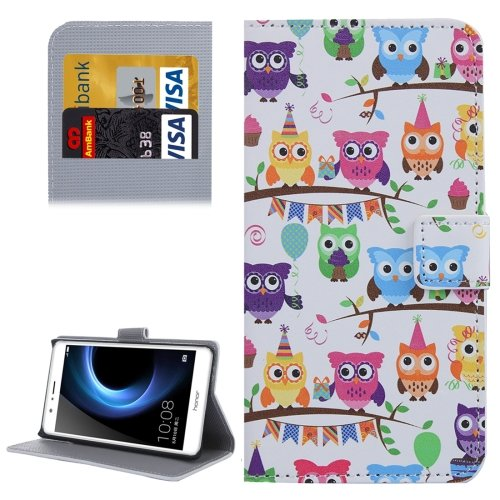 For Honor V8 Owls Pattern Leather Case with Holder, Card Slots & Wallet