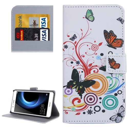 For Honor V8 Butterfly Pattern Leather Case with Holder, Card Slots & Wallet