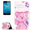For Honor 5C Bear Pattern Leather Case with Holder, Card Slots & Wallet