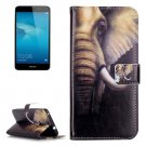 For Honor 5C Elephant Pattern Leather Case with Holder, Card Slots & Wallet