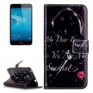 For Honor 5C Red Lip Pattern Leather Case with Holder, Card Slots & Wallet