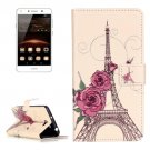 For Huawei Y5 II Rose Pattern Leather Case with Holder, Card Slots & Wallet