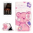 For Huawei Y5 II Bear Pattern Leather Case with Holder, Card Slots & Wallet