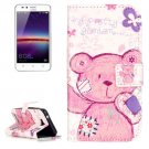 For Huawei Y3 II Bear Pattern Leather Case with Holder, Card Slots & Wallet
