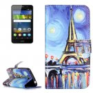 For Huawei Y6 Pro Painting Pattern Leather Case with Holder, Card Slots & Wallet
