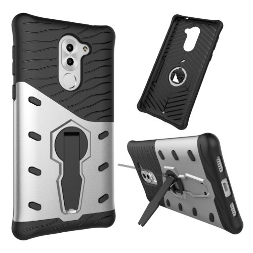 For Huawei Honor 6X Silver Rotating TPU + PC Combination Case with Holder