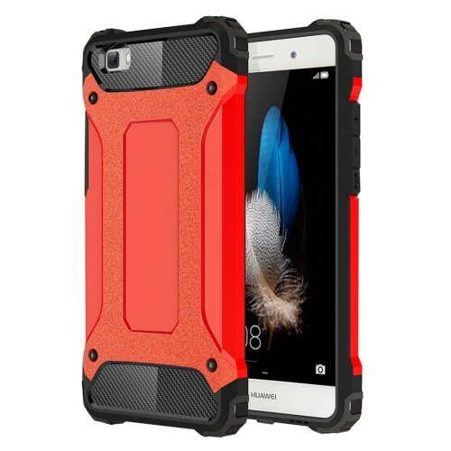 For Huawei P8 Lite Red Tough Armor TPU + PC Combination Case