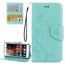 For Vibe K5 Green Butterfly Leather Case with Holder, Card Slots & Wallet