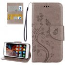 For Vibe K5 Grey Butterfly Leather Case with Holder, Card Slots & Wallet