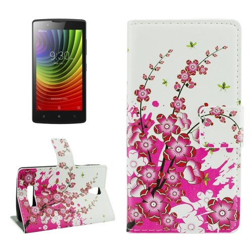 For Lenovo A2010 Blossom Pattern Leather Case with Holder, Card Slots & Wallet