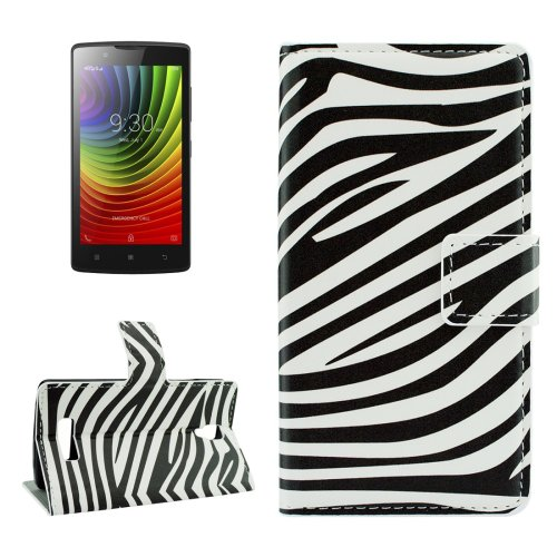 For Lenovo A2010 Zebra Pattern Leather Case with Holder, Card Slots & Wallet