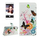 For Lenovo S90 Butterfly Pattern Leather Case with Holder, Card Slots & Wallet