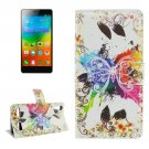 For Lenovo K3 Butterfly Pattern Leather Case with Holder, Card Slots & Wallet