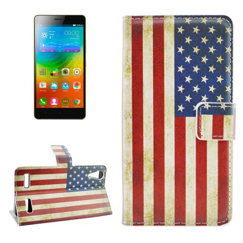 For Lenovo K3 US Flag Pattern Leather Case with Holder, Card Slots & Wallet