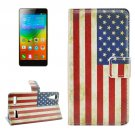 For Lenovo K3 US Flag Pattern Leather Case with Holder, Card Slots & Wallet