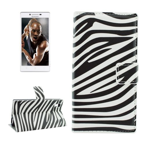 For Lenovo P70t Zebra Pattern Leather Case with Holder, Card Slots & Wallet