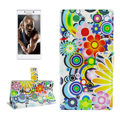 For Lenovo P70t Fireworks Pattern Leather Case with Holder, Card Slots & Wallet