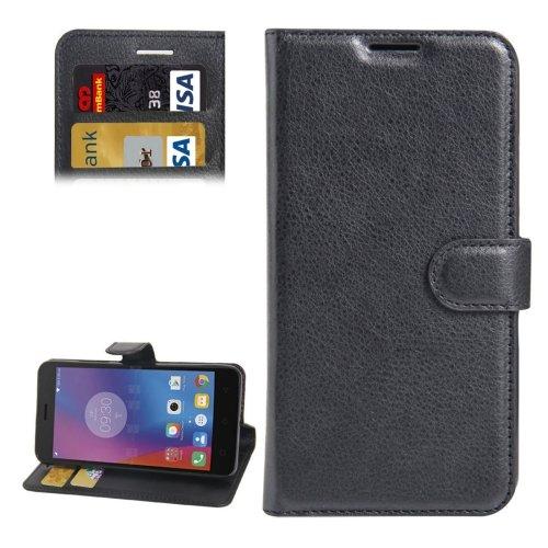 For Lenovo K6 Black Litchi Leather Case with Holder, Card Slots & Wallet