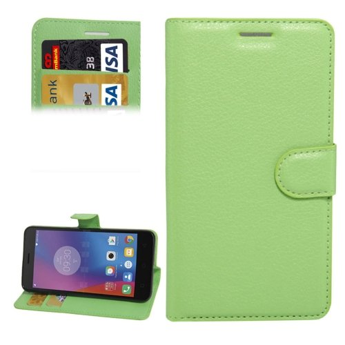 For Lenovo K6 Green Litchi Leather Case with Holder, Card Slots & Wallet