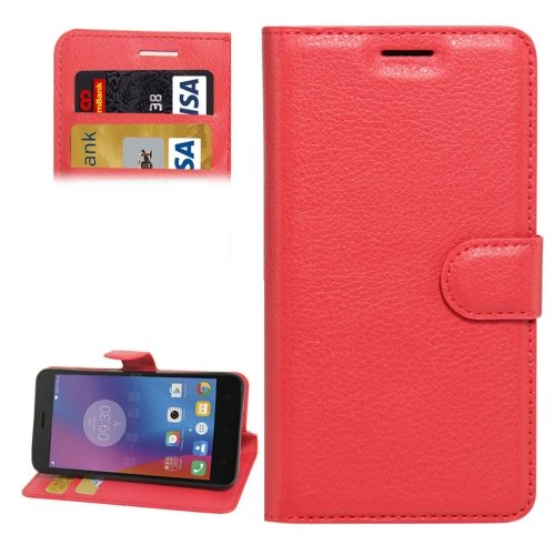 For Lenovo K6 Red Litchi Leather Case with Holder, Card Slots & Wallet