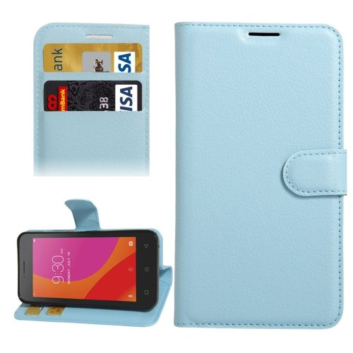 For Lenovo A Plus Blue Litchi Leather Case with Holder, Card Slots & Wallet