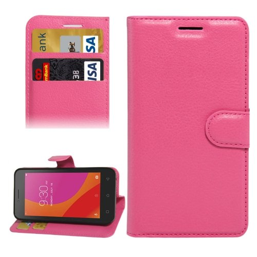 For Lenovo A Plus Magenta Litchi Leather Case with Holder, Card Slots & Wallet
