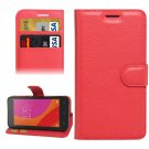 For Lenovo A Plus Red Litchi Leather Case with Holder, Card Slots & Wallet