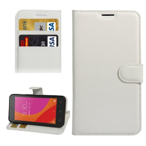 For Lenovo A Plus White Litchi Leather Case with Holder, Card Slots & Wallet