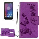 For Lenovo K6 Purple Butterflies Leather Case with Holder, Card Slots & Wallet