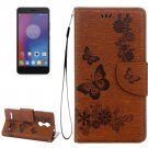 For Lenovo K6 Brown Butterflies Leather Case with Holder, Card Slots & Wallet