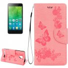 For Vibe C2 Pink Butterflies Leather Case with Holder, Card Slots & Wallet