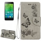 For Vibe C2 Grey Butterflies Leather Case with Holder, Card Slots & Wallet