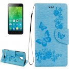 For Vibe C2 Blue Butterflies Leather Case with Holder, Card Slots & Wallet